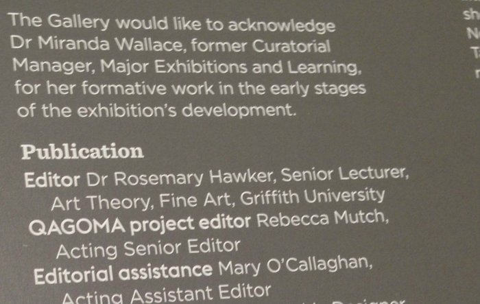 Acknowledgements (from the exhibition catalogue, Gerhard Richter: The Life of Images, Queensland Art Gallery 2017)